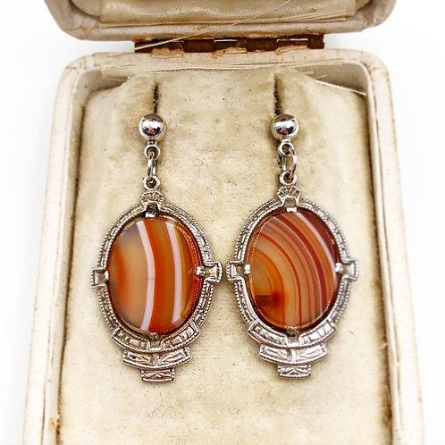 Art Deco Agate Earrings