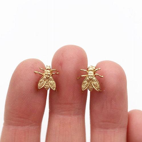 14k Yellow Gold Bee Earrings