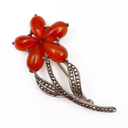 Cornelian Flower Brooch
