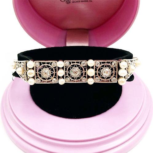 Stunning Art Deco Diamond & Pearl Bracelet