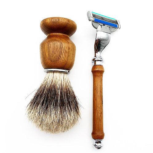 Wooden Brush, Razor, and Stand