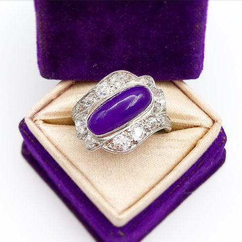 Art Deco Sugilite & Diamond Ring