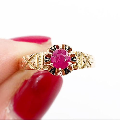 Victorian Solitaire Ruby Ring