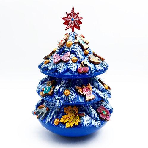 Blue Christmas Tree With Jingle Bell Inside
