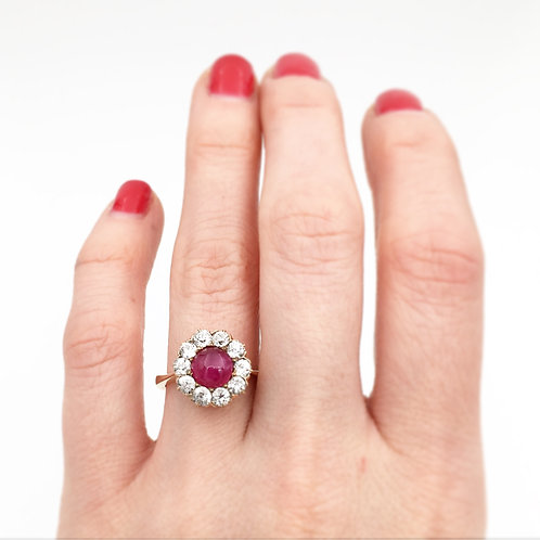 Cabochon Ruby with Diamond Halo