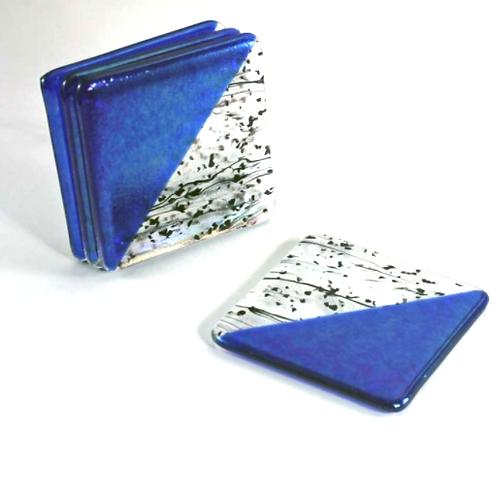 Royal Blue Diagonal Confetti Coasters