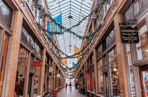 Christmas in the historic Nickels Arcade directly off of the vibrant U of M campus.