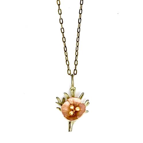 California Poppy Pendant Necklace