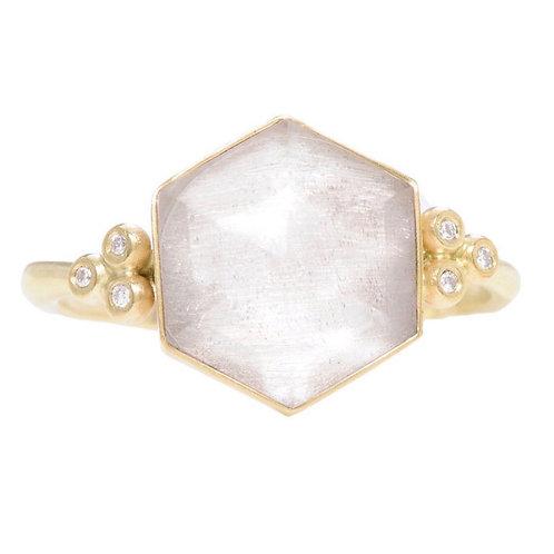 14k Quartz Hexagon Ring