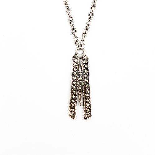 "Sterling Marcasite ""M"" Pendant"