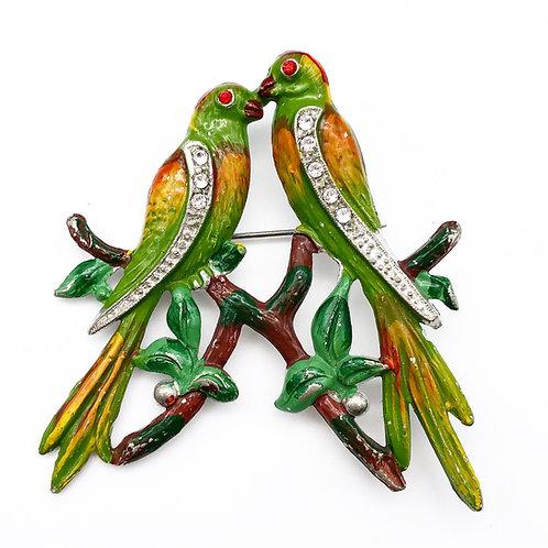 Art Deco Parakeet Brooch