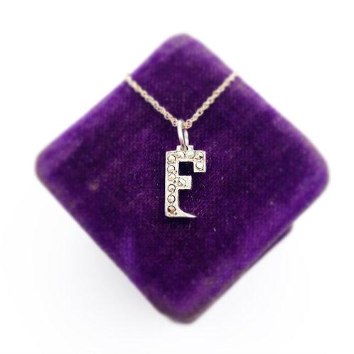 """Marcasite """"F"""" Initial Pendant"""
