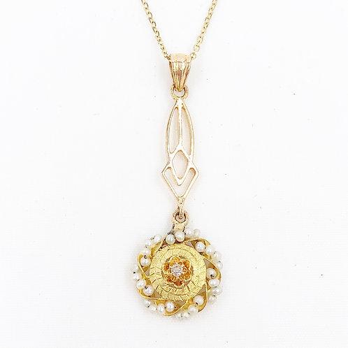 Diamond & Seed Pearl Lavalier