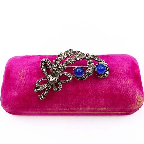 Antique Marcasite & Blue Chalcedony Brooch