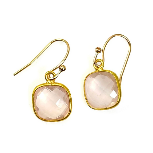 Rose Quartz Gold Vermeil Earrings