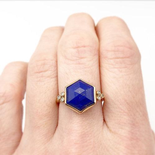 14k Lapis & Diamond Ring