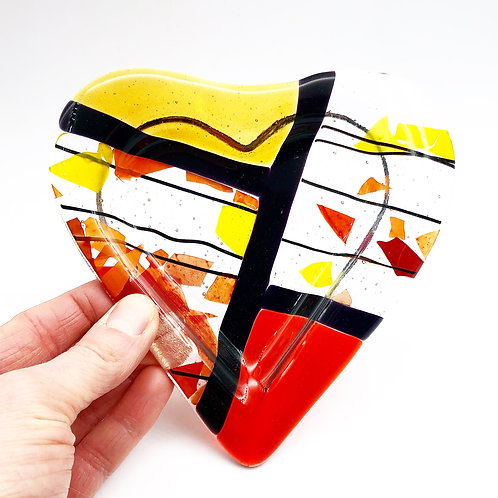Fused Glass Heart Dish - Made in the USA