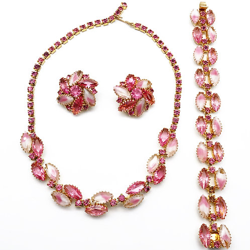 Pink & Opalescent Rhinestone Necklace