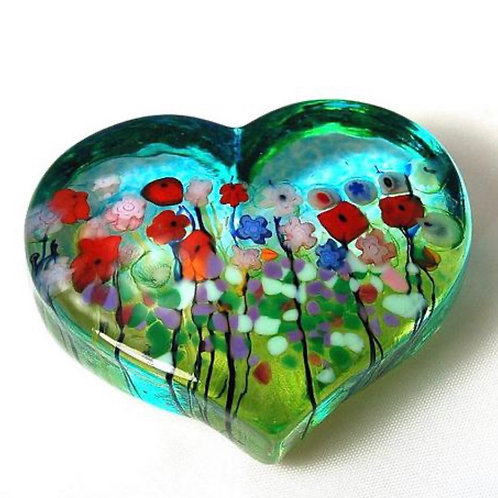 Flower Bouquet Glass Heart