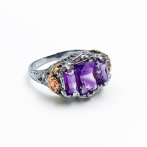Rare White Gold Amethyst Ring