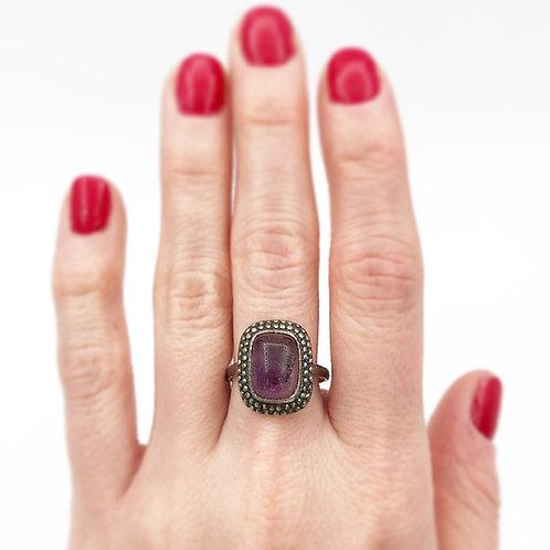 Cabochon Amethyst & Marcasite Ring