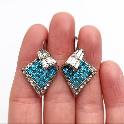 Art Deco French Paste Earrings