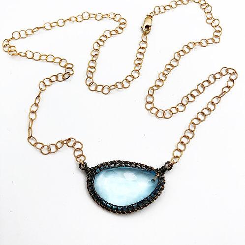 Faceted Blue Topaz Necklace