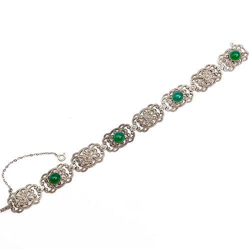 Cabochon Cut Green Chalcedony Bracelet