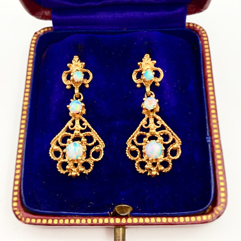 Vintage Yellow Gold Opal Earrings