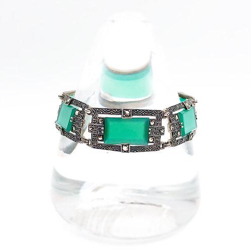 Art Deco Green Chalcedony Bracelet