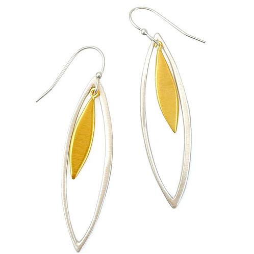 Two Tone Drop Leaf Earrings