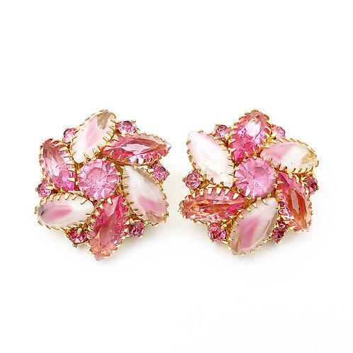 Pink & Opalescent Rhinestone Clip On Earrings