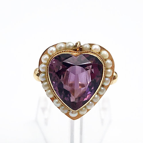 Antique Amethyst & Seed Pearl Heart Ring