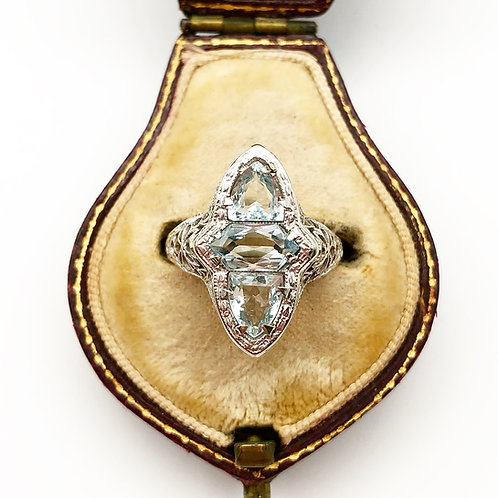 3 Stone Aquamarine Filigree Ring