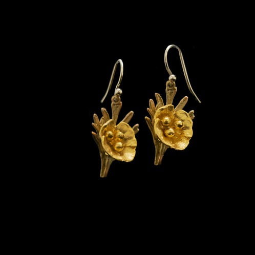 California Poppy Fish Hook Earrings
