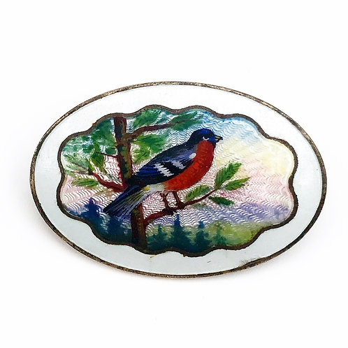 Guilloché Enamel Bird Brooch