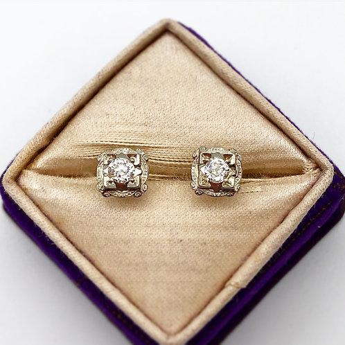 Art Deco White Gold Diamond Studs