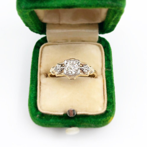 Beautiful Two Tone Diamond Engagement Ring