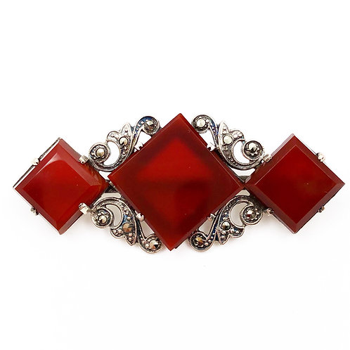Art Deco Cornelian Brooch