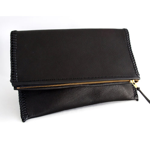 Black Laced Fold-Over Clutch