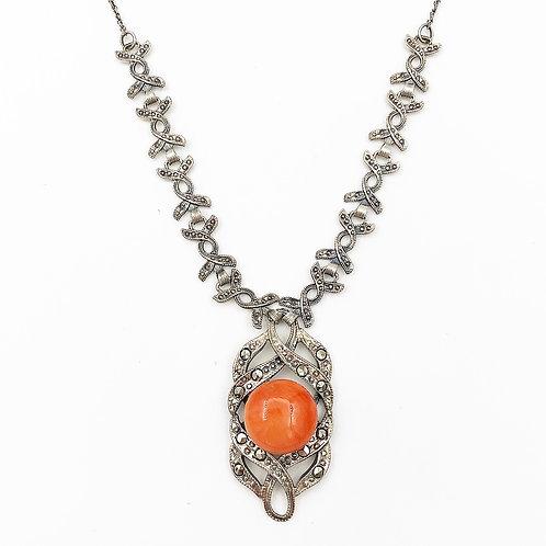 Rare Coral & Marcasite Necklace