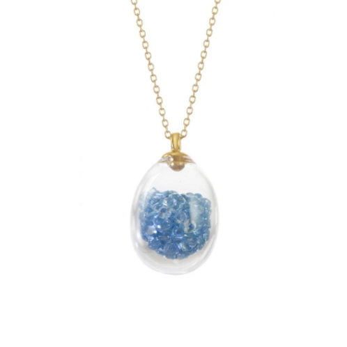 Aqua Crystal Egg Shaker Necklace Small