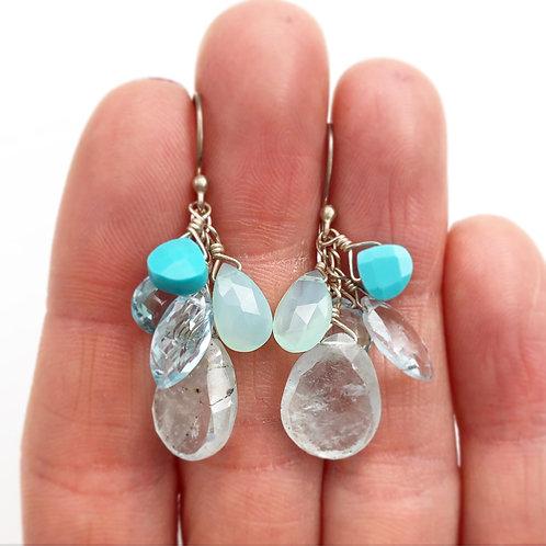 Glistening Multi Blue Earrings