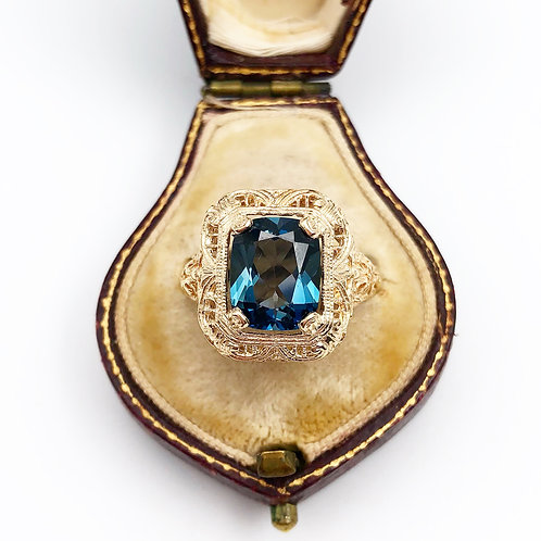 Edwardian London Blue Topaz Ring
