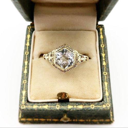 Art Deco Hexagon Cut Aquamarine Ring