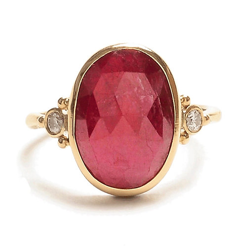 Rose Cut Ruby & Diamond Ring