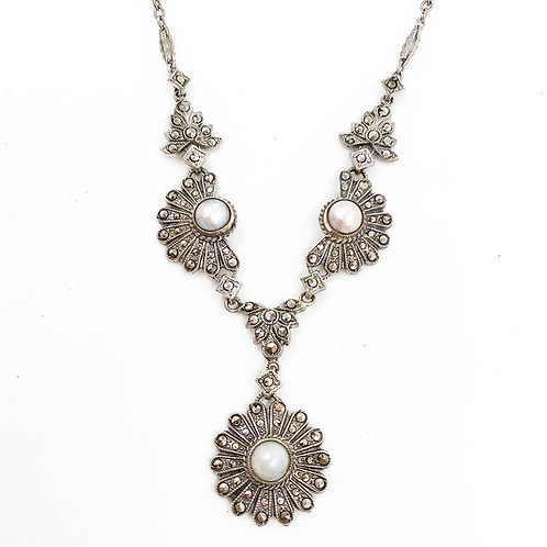 Sterling Marcasite and Pearl Necklace