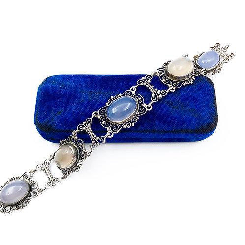 Filigree Blue Chalcedony Bracelet