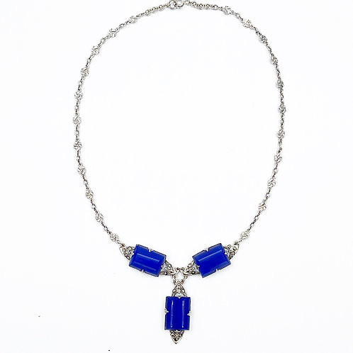 Blue Chalcedony & Marcasite Necklace