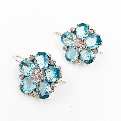 Sterling Crystal Flower Earrings